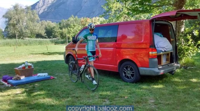 Camper van cycling road trip France